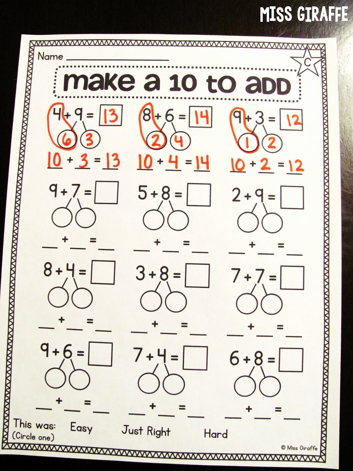 Composing and Decomposing Numbers Worksheet Awesome Miss Giraffe S Class Making A 10 to Add