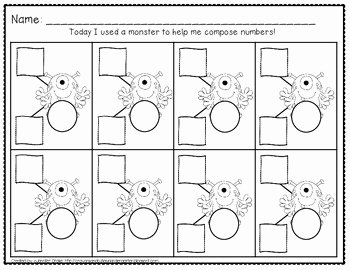 Composing and Decomposing Numbers Worksheet Beautiful Posing & De Posing Numbers 2 to 20 Monster theme