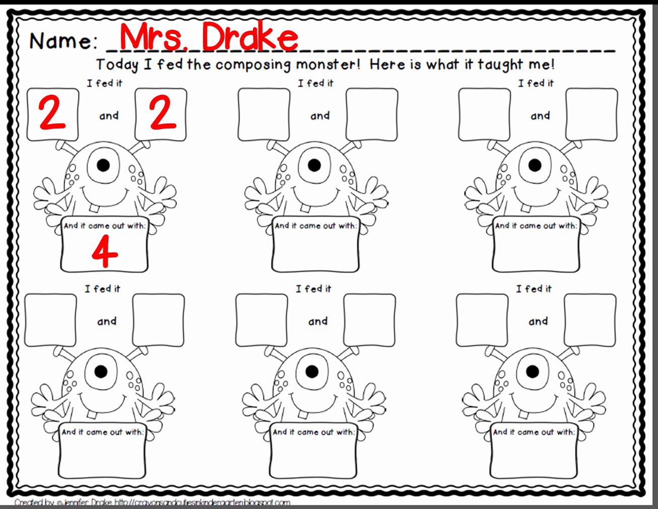 Composing and Decomposing Numbers Worksheet Inspirational Crayons & Cuties In Kindergarten Posing Numbers why
