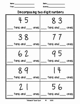 "Composing and Decomposing Numbers Worksheet Inspirational De Posing 2 Digit Numbers by ""skimen S"" Sped Spot"