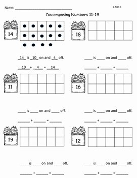 Composing and Decomposing Numbers Worksheet Lovely De Posing Numbers 11 19 K Nbt 1 by Z Girls
