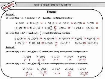 Composite Function Worksheet Answer Key Best Of Posite Functions Mastery Worksheet by Joy S Math