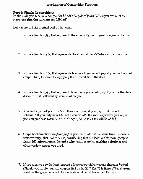 Composite Function Worksheet Answer Key Best Of Posite Functions Worksheet