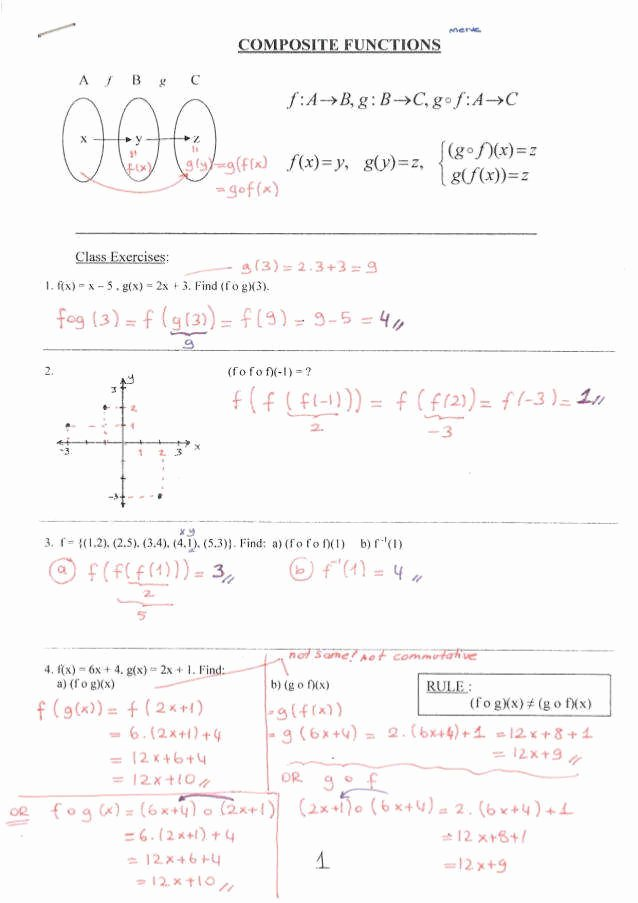 Composite Function Worksheet Answer Key Inspirational Posite Functions Worksheet