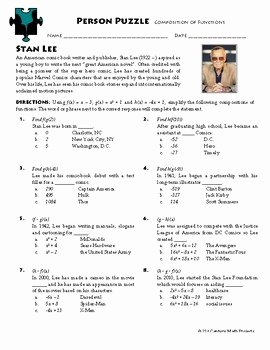 Composite Function Worksheet Answer Key Lovely Person Puzzle Position Of Functions Stan Lee