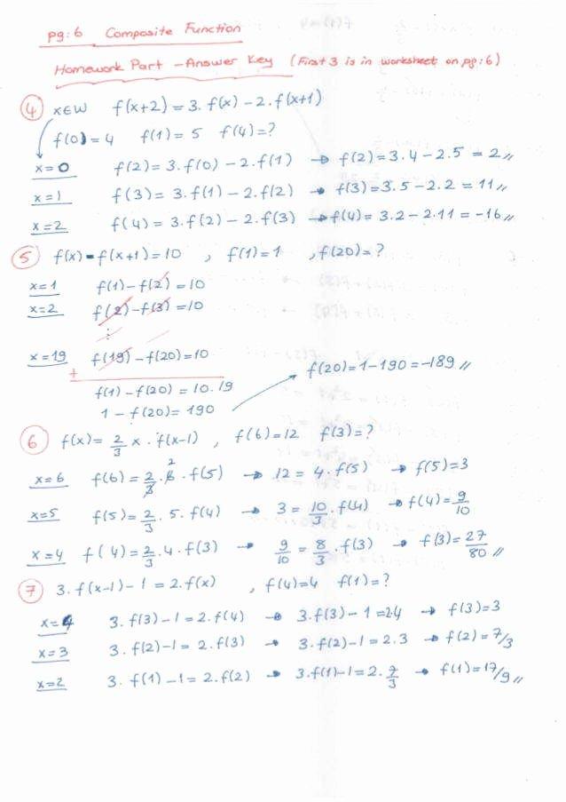 Composite Function Worksheet Answer Key Unique Posite Functions Worksheet