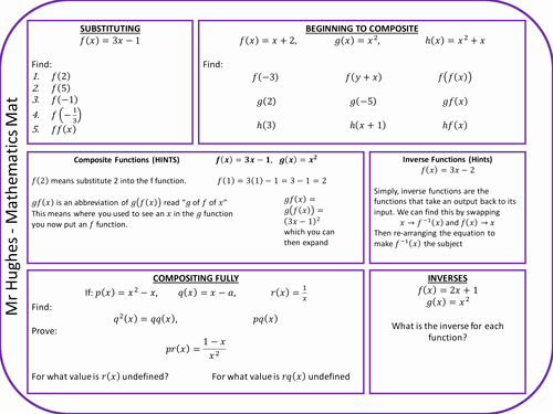 Composite Functions Worksheet Answers Awesome Posite Functions Revision Mat by Ehughes2