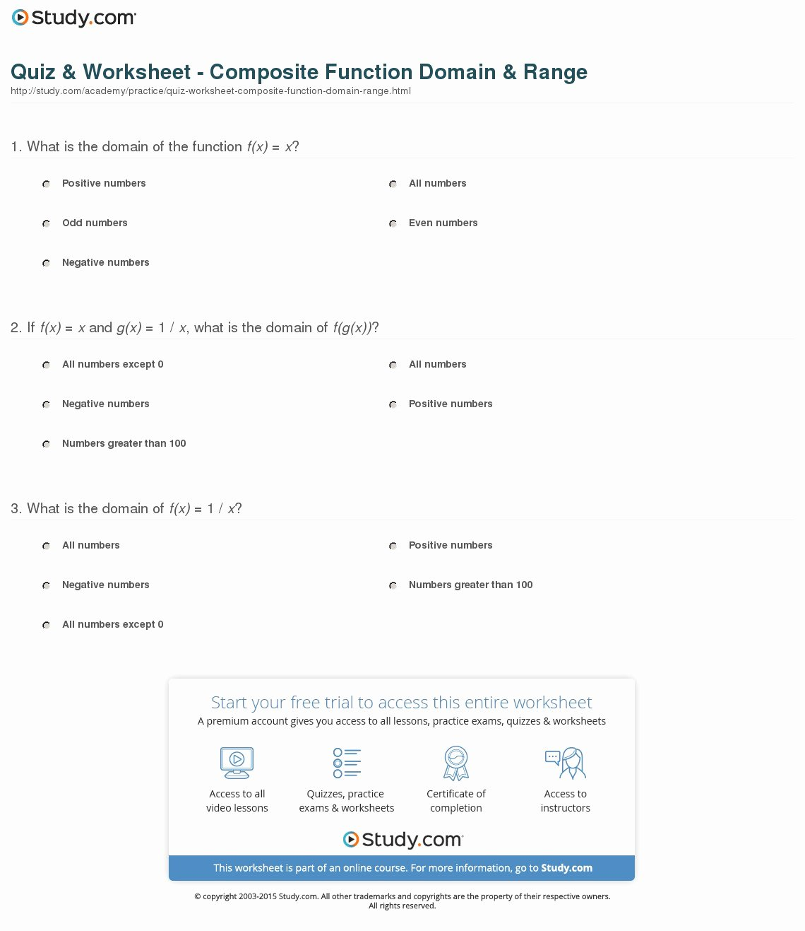 Composite Functions Worksheet Answers Beautiful Quiz & Worksheet Posite Function Domain & Range