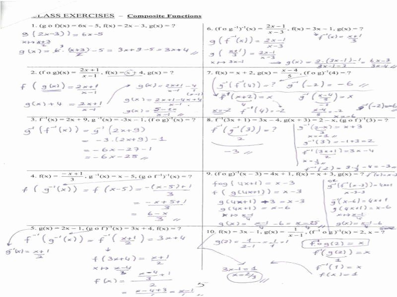Composite Functions Worksheet Answers Best Of Posite Functions Worksheet
