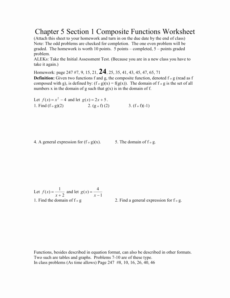 Composite Functions Worksheet Answers Inspirational Chapter 5 Section 1 Posite Functions Worksheet