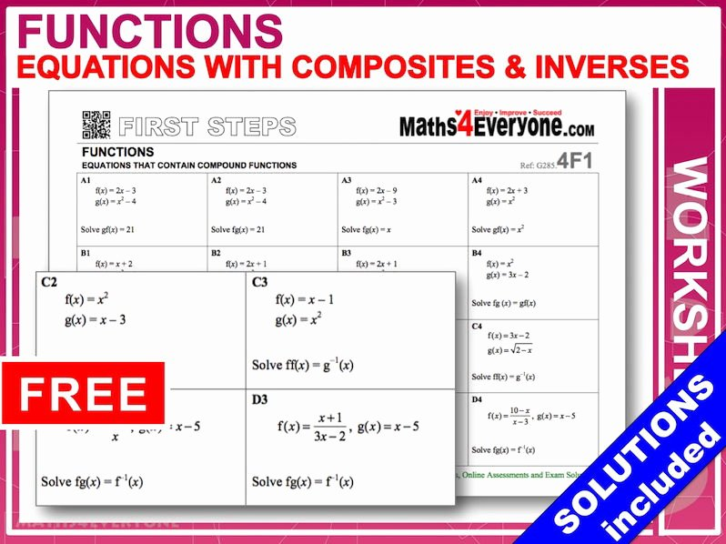 Composite Functions Worksheet Answers Inspirational Equations with Posite Functions Worksheet with Full