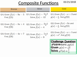 Composite Functions Worksheet Answers New Gcse 9 1 Posite Functions Lesson Worksheet by