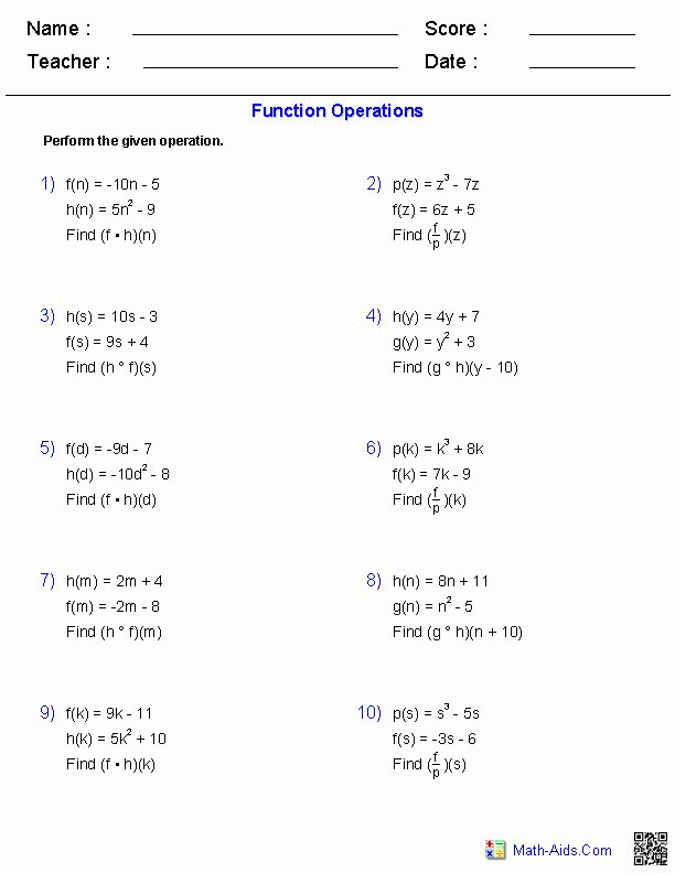 Composition Of Functions Worksheet Answers Elegant Function Position Worksheet