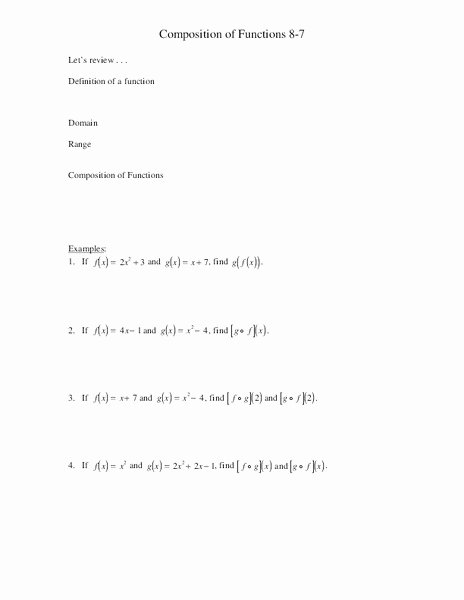 Composition Of Functions Worksheet Answers Unique Position Of Functions Worksheet for 11th Higher Ed