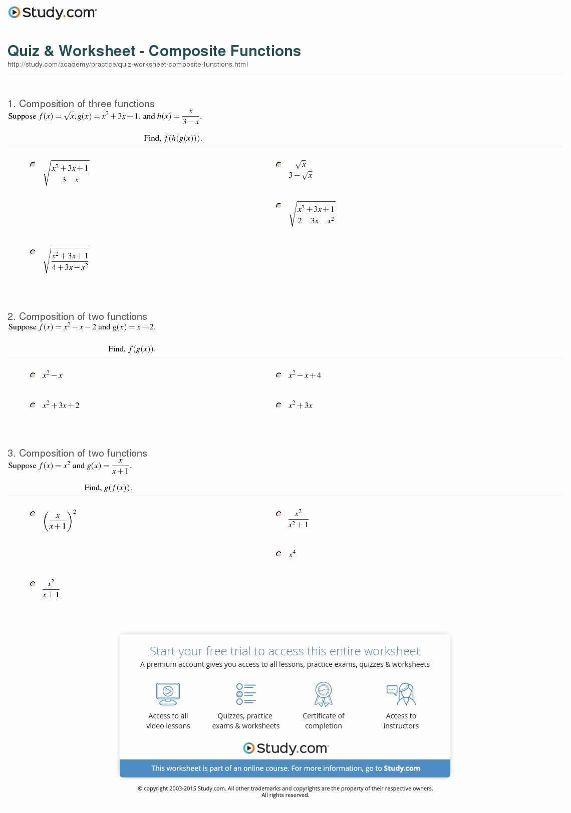 Composition Of Functions Worksheet Fresh Quiz & Worksheet Posite Functions