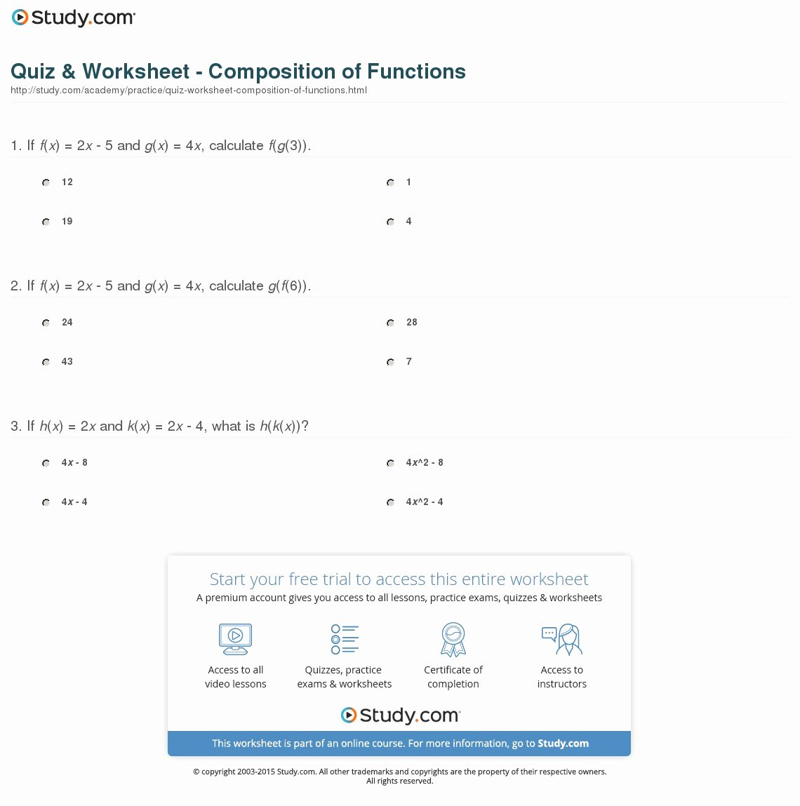 Composition Of Functions Worksheet Inspirational Quiz & Worksheet Position Of Functions