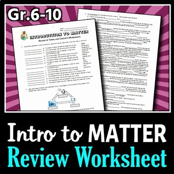 Composition Of Matter Worksheet Answers Luxury Introduction to Matter Review Worksheets Editable by