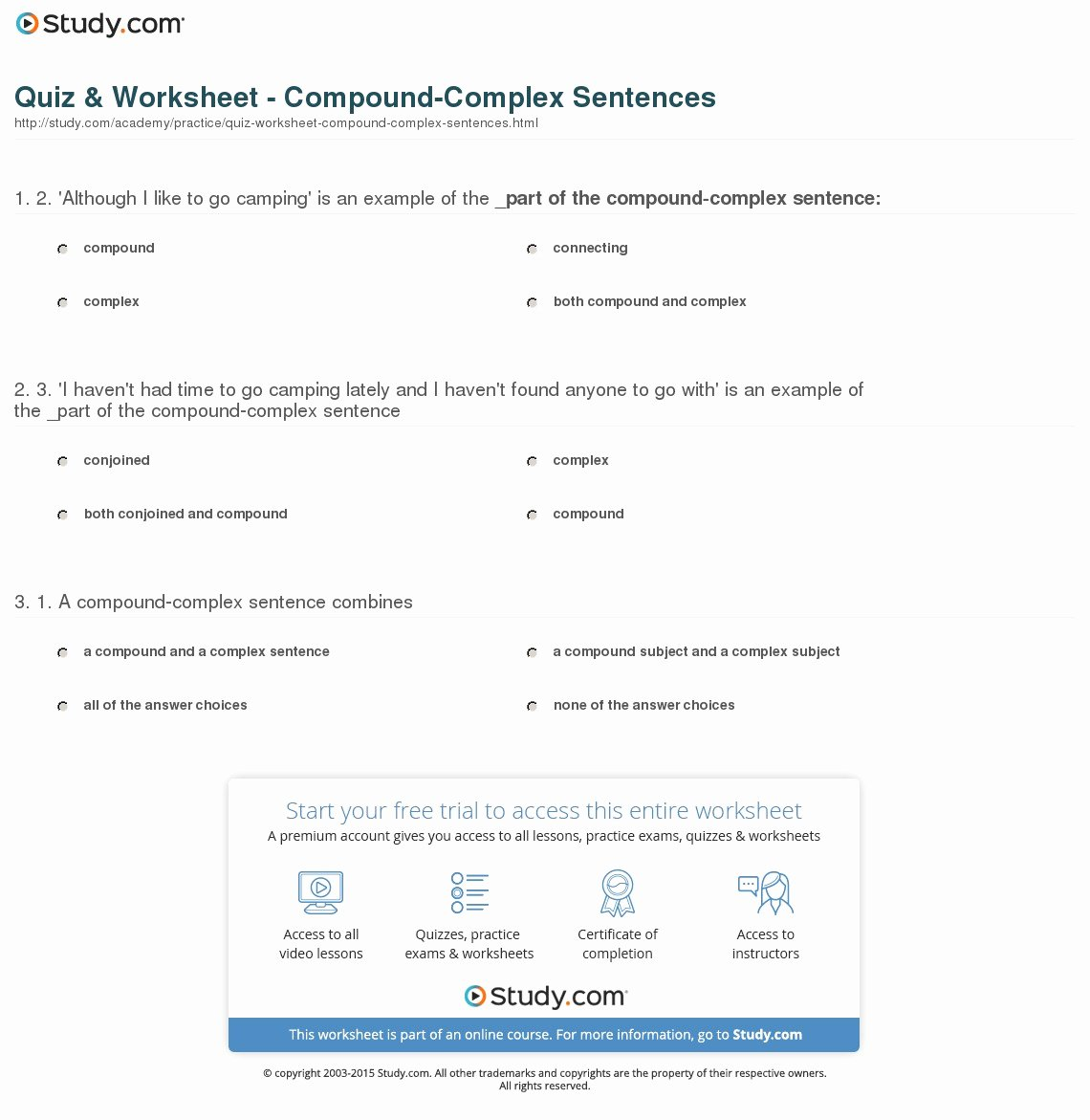 Compound and Complex Sentences Worksheet Beautiful Quiz & Worksheet Pound Plex Sentences