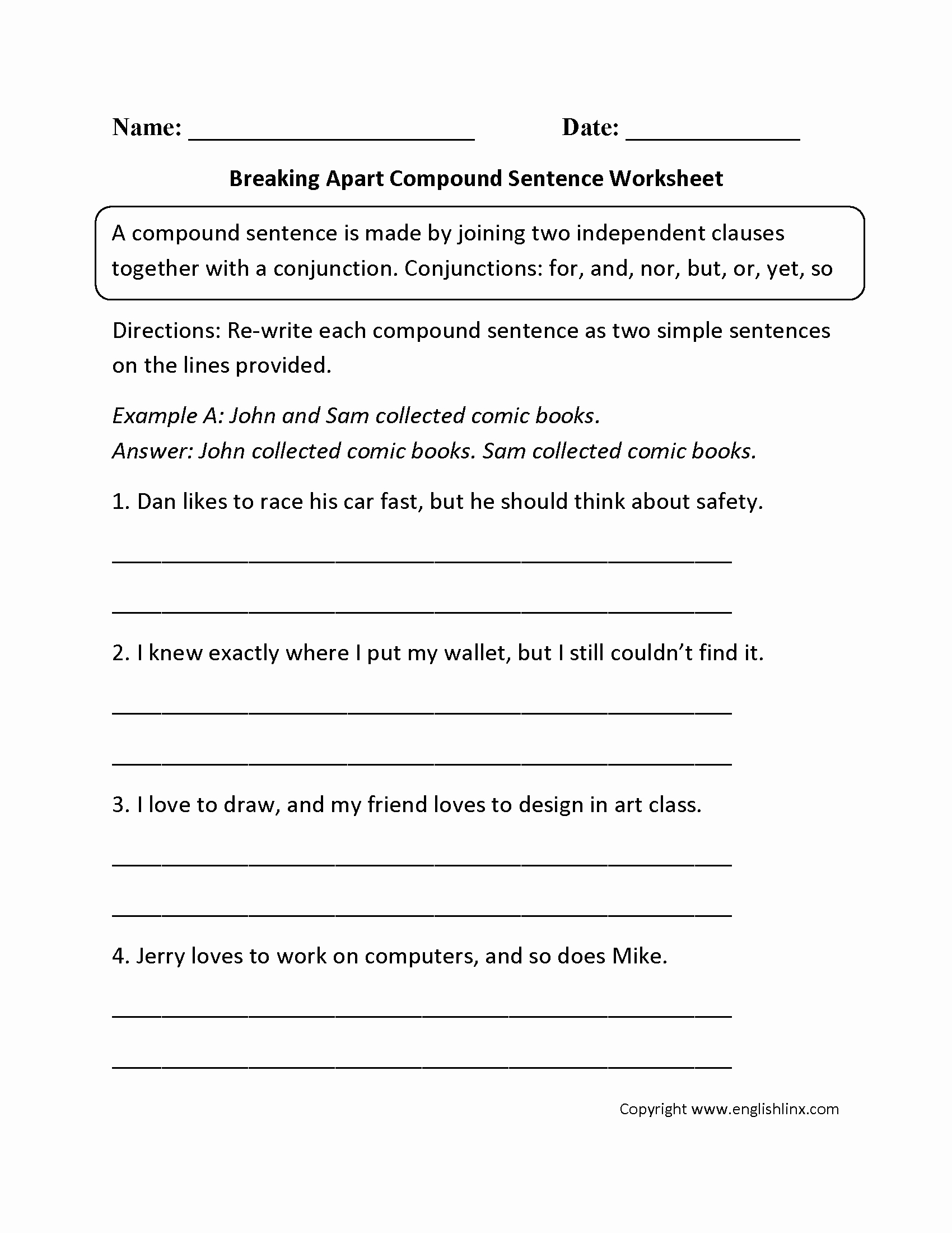 Compound and Complex Sentences Worksheet Best Of 16 Best Of 6th Grade Sentence Structure Worksheets