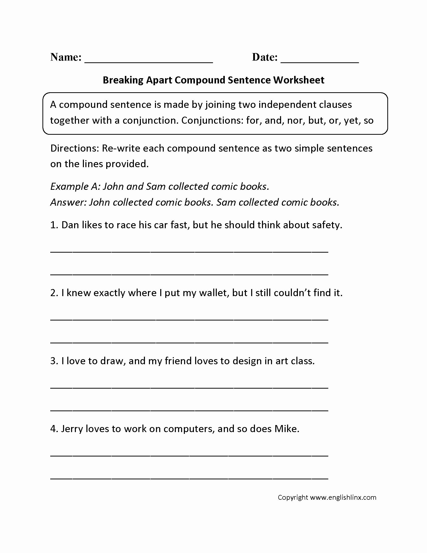 Compound and Complex Sentences Worksheet Best Of 16 Best Of 6th Grade Sentence Structure Worksheets