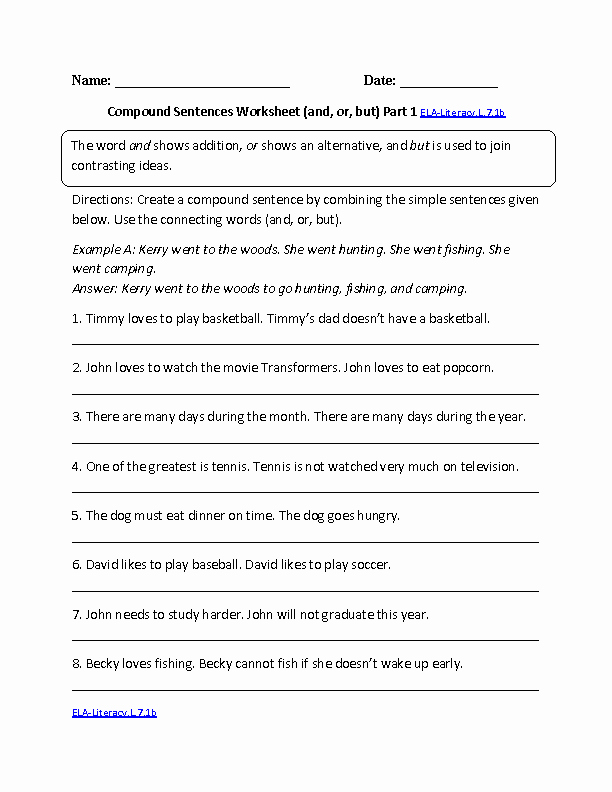 Compound and Complex Sentences Worksheet Best Of Pound Sentences Worksheet Ela Literacy L 7 1b Language