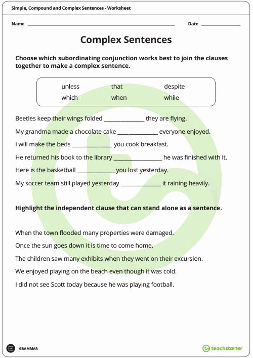 Compound and Complex Sentences Worksheet Best Of Simple Pound and Plex Sentences Worksheet Pack