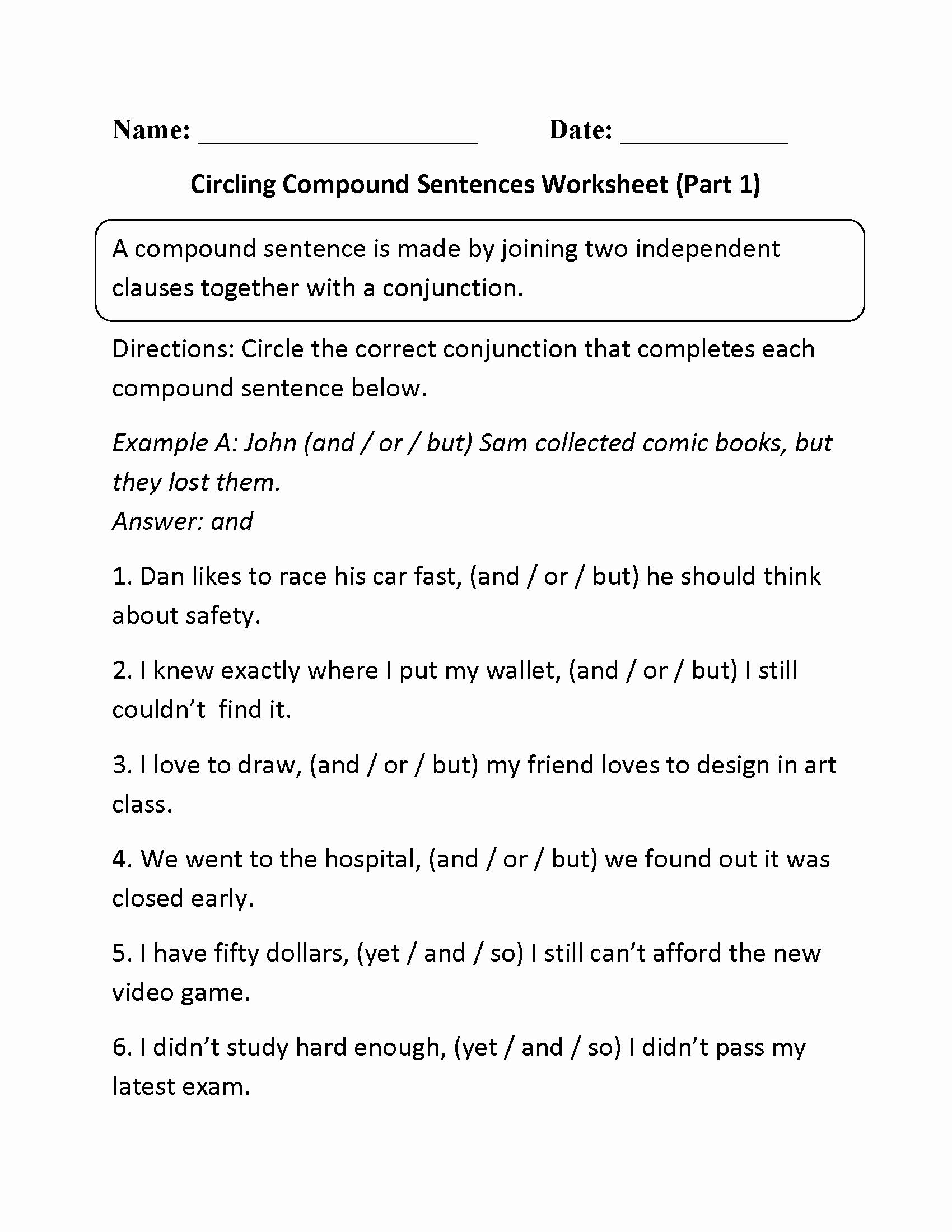 Compound and Complex Sentences Worksheet Elegant 18 Best Of Pound Sentences Worksheet 3rd Grade