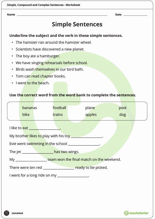 Compound and Complex Sentences Worksheet Elegant Simple Pound and Plex Sentences Worksheet Pack