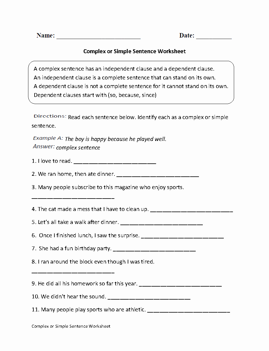 Compound and Complex Sentences Worksheet Inspirational Plex or Simple Sentence Worksheet