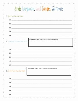 Compound and Complex Sentences Worksheet Inspirational Simple Pound and Plex Sentences Worksheet by