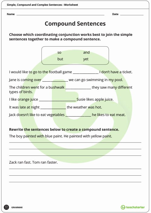 Compound and Complex Sentences Worksheet Inspirational Simple Pound and Plex Sentences Worksheet Pack