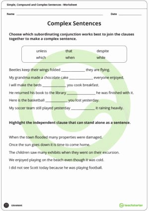 Compound and Complex Sentences Worksheet New Simple Pound and Plex Sentences Worksheet Pack