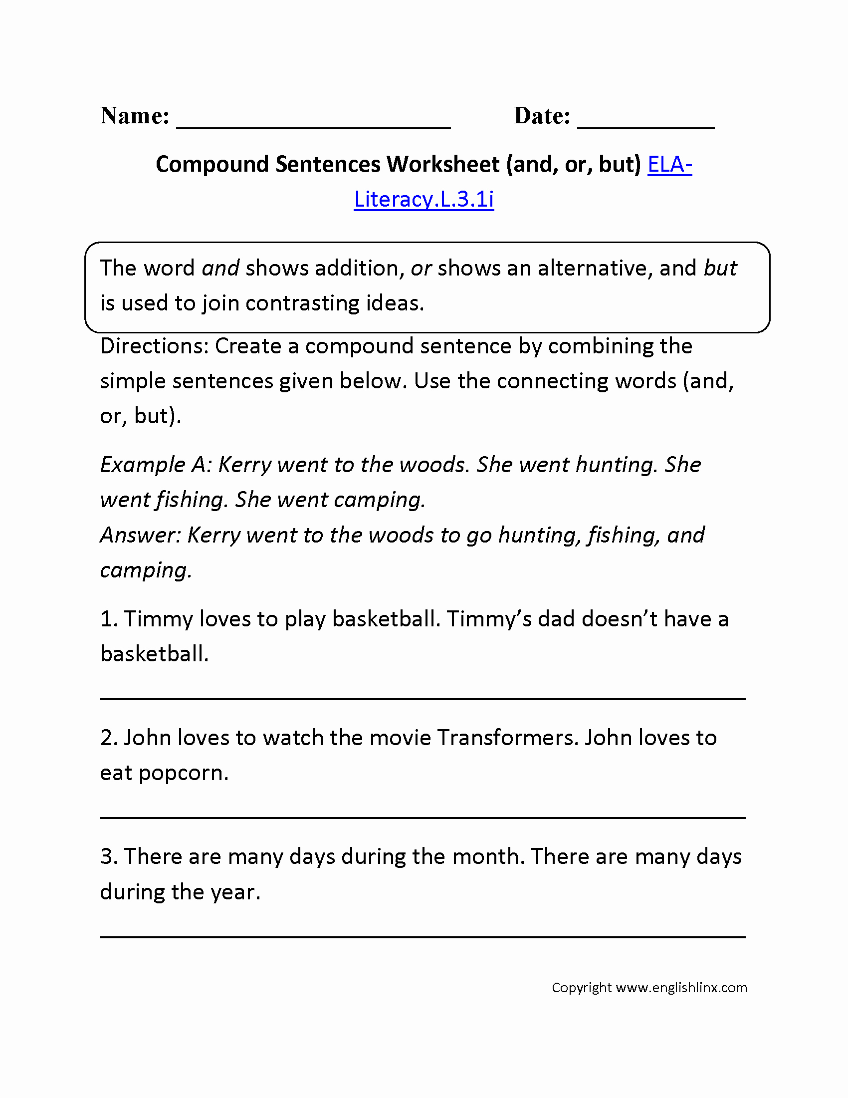 Compound and Complex Sentences Worksheet Unique 3rd Grade Mon Core