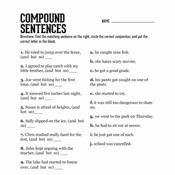 Compound Complex Sentences Worksheet Awesome 13 Best Of Worksheets Pound Sentences Pound