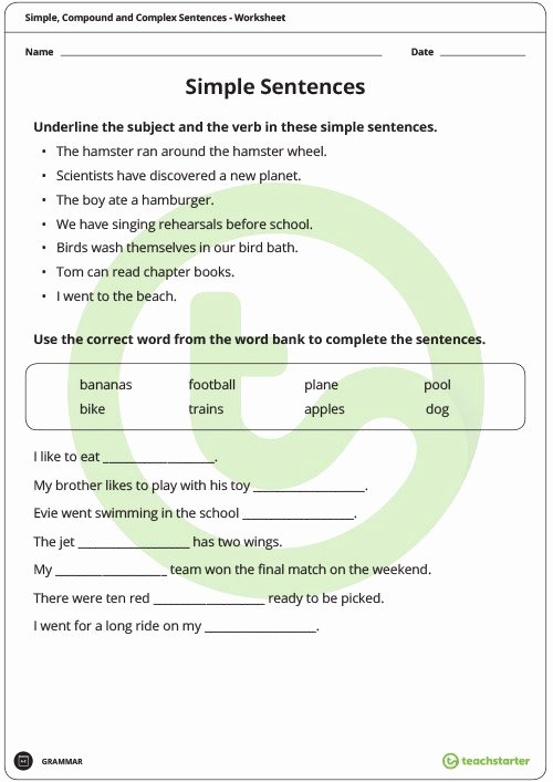 Compound Complex Sentences Worksheet Lovely Simple Pound and Plex Sentences Worksheet Pack