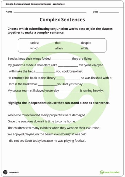 Compound Complex Sentences Worksheet Unique Pound Plex Sentences Worksheets