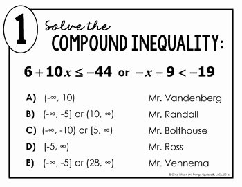 Compound Inequalities Worksheet Answers Beautiful Pound Inequalities Math Lib by All Things Algebra