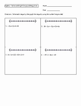 Compound Inequalities Worksheet Answers Best Of Algebra solve and Graph Pound Inequalities Worksheet