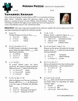 Compound Inequalities Worksheet Answers Elegant Person Puzzle Pound Inequalities Tawakel Karman