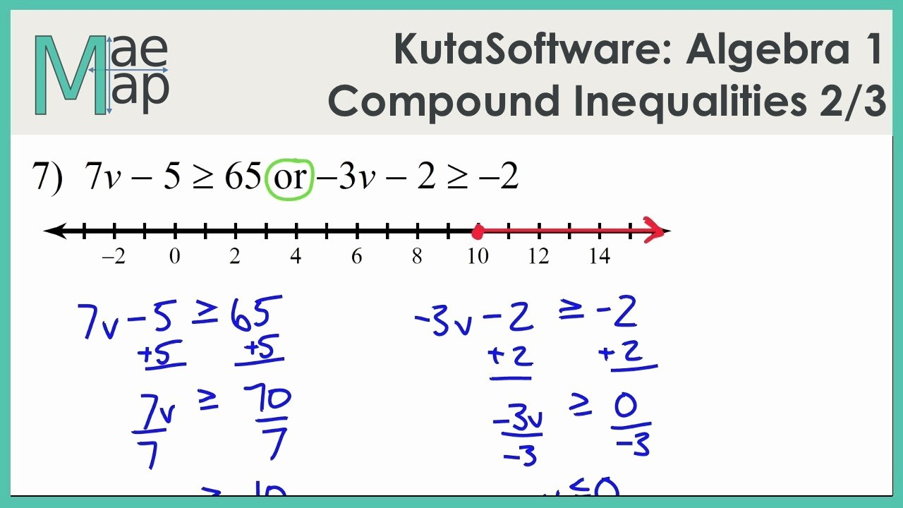 Compound Inequalities Worksheet Answers Lovely Kutasoftware Algebra 1 Pound Inequalities Part 2