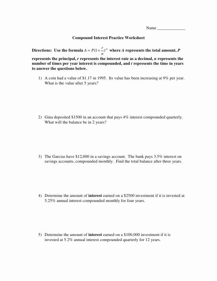 Compound Interest Worksheet Answers Beautiful Pound Interest Worksheet