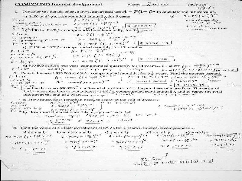 Compound Interest Worksheet Answers Beautiful Simple and Pound Interest Worksheet Answers Free