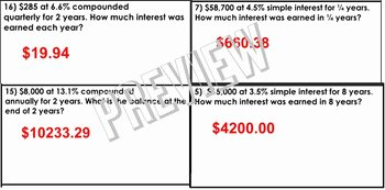 Compound Interest Worksheet Answers Inspirational Algebra Finance Simple and Pound Interest Review