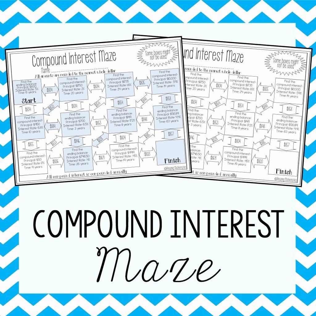 Compound Interest Worksheet Answers Unique Continuous Pound Interest Worksheet with Answers Math