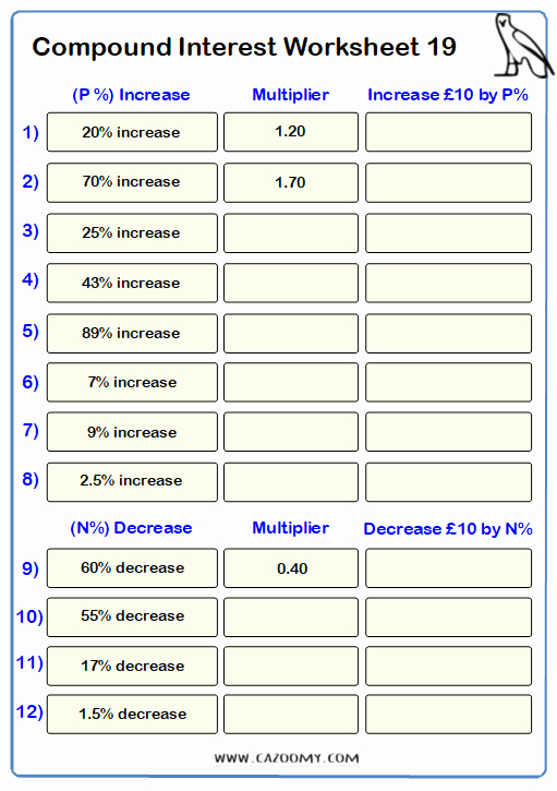 Compound Interest Worksheet Answers Unique Percentages Worksheets