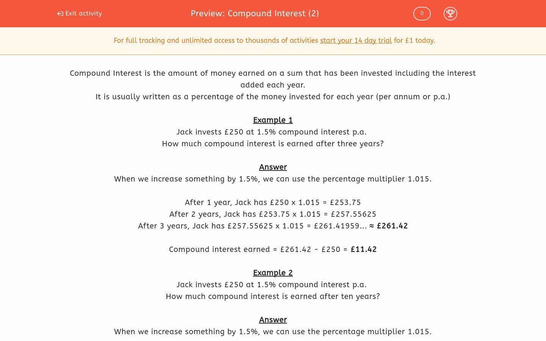Compound Interest Worksheet Answers Unique Pound Interest 2 Worksheet Edplace
