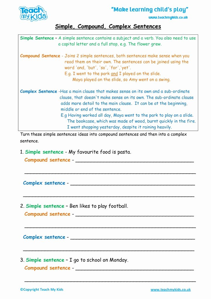 Compound Sentences Worksheet Pdf Fresh Simple Pound Plex Sentences Tmk Education
