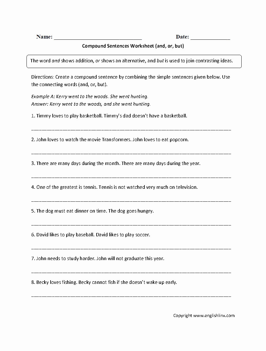 Compound Sentences Worksheet Pdf Inspirational Sentences Worksheets