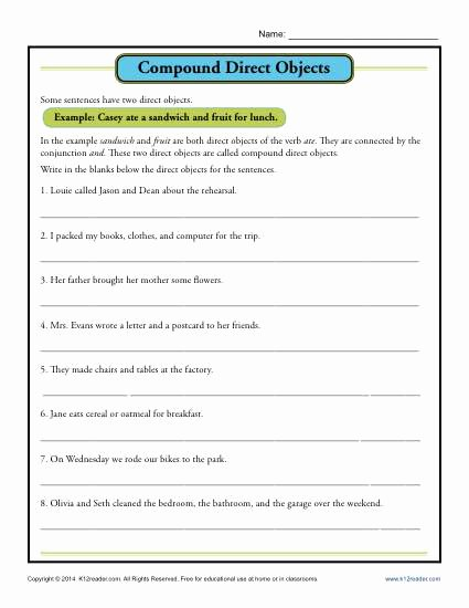 Compound Sentences Worksheet Pdf Luxury Pound Direct Object Worksheet