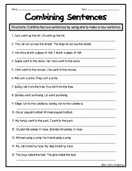Compound Sentences Worksheet Pdf New Bining Sentences Worksheets by Mr and Mrs Brightside